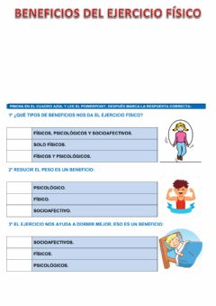 Interactive worksheet Beneficios del ejercicio físico.