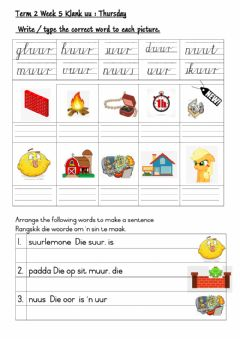 Ficha interactiva Grade 3: FAL Afrikaans:  Term 2 Week 5 UU-klank Thursday