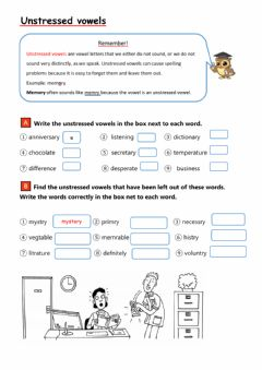 Interactive worksheet Unstressed vowels