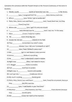 Interactive worksheet Present Simple and Present Continuous with stative verbs 1