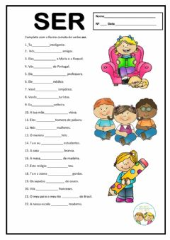 Interactive worksheet Verbo ser. Presente do indicativo.
