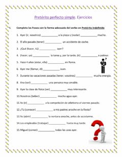 Interactive worksheet Indefinido Ejercicios