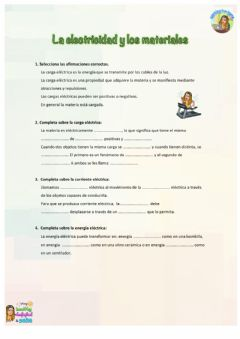 Interactive worksheet Naturales. La electricidad y los materiales