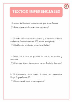 Interactive worksheet Textos inferenciales