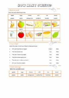 Interactive worksheet Countable and uncountable food