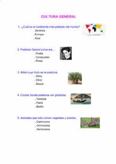 Interactive worksheet Cultura general