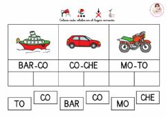 Interactive worksheet Lectura silábica - Los transportes