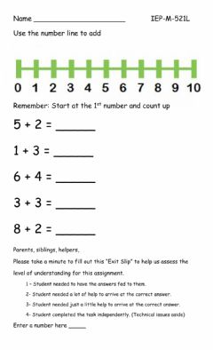 Ficha interactiva Number line addition