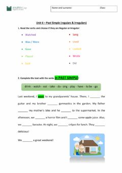 Interactive worksheet Unit 6 Regular - Irregular