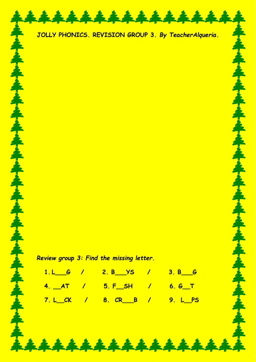 Jolly Phonics Group 3 Worksheet