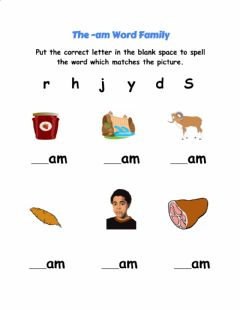 Interactive worksheet The -am Word Family