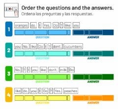 Ficha interactiva Order the question and the answer