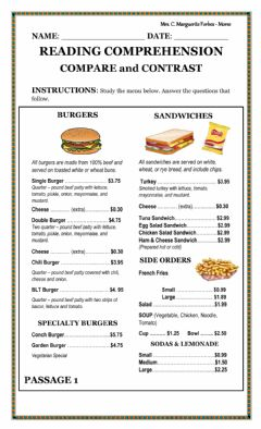 Interactive worksheet Burgers and Sandwiches