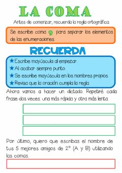 Interactive worksheet La coma, dictado
