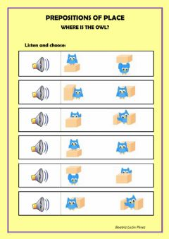 Interactive worksheet Where is the owl? - Prepositions of place