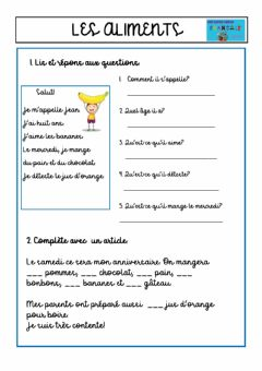 Interactive worksheet Lea aliments