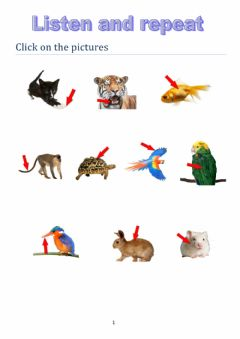 Interactive worksheet Listen and repeat the animals body parts