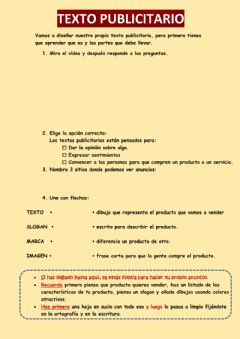 Interactive worksheet Texto publicitario