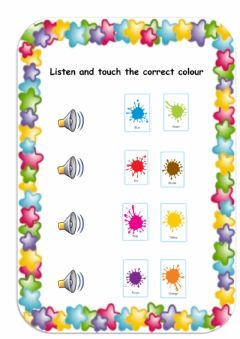 Interactive worksheet Listen and touch colours