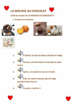 Interactive worksheet La mousse au chocolat