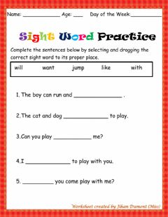 Interactive worksheet Sight word practice