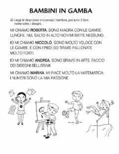 Interactive worksheet Bambini in gamba