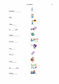 Interactive worksheet Les matieres 2