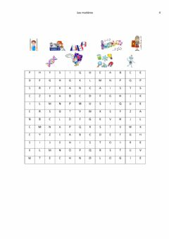 Interactive worksheet Les matieres 4