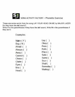Interactive worksheet SAF - Phonetic Exercise - MAJOR LAZER