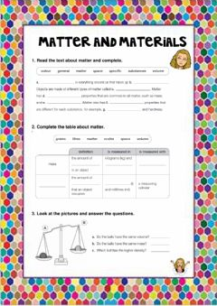 Interactive worksheet Matter and materials Y4