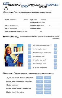Interactive worksheet Be happy, Do what you love
