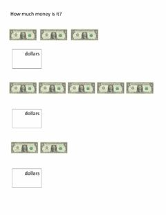 Interactive worksheet Counting dollars