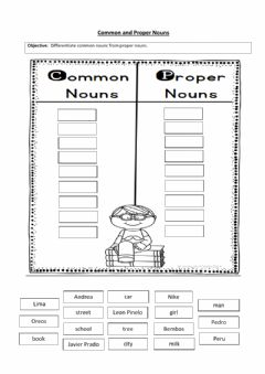 Interactive worksheet Common and proper nouns sorting