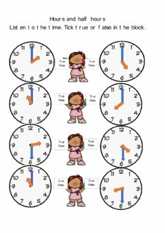 Interactive worksheet Hours and Half hours (T2W19D5)
