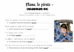 Interactive worksheet Plume, le pirate - Les renseignements quand