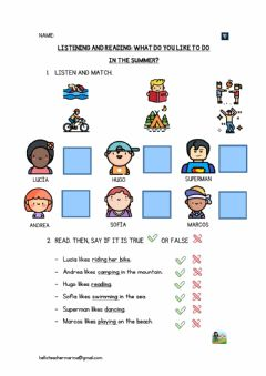 Interactive worksheet Listening and Reading: Summer activities