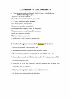 Interactive worksheet Estilo indirecto
