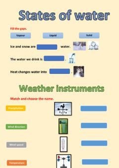Interactive worksheet States of water and weather instruments