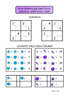 Interactive worksheet Pasatiempos matemáticos 1