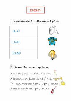 Interactive worksheet Energy: heat, sound, light