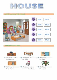 Interactive worksheet House