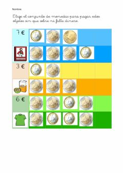 Interactive worksheet Compra con monedas de euro