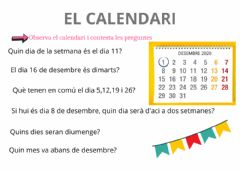 Interactive worksheet Calendari