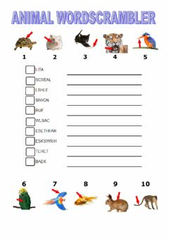 Interactive worksheet Animal body parts wordscrambler tiger macmillan