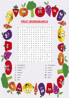 Interactive worksheet Fruit wordsearch