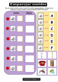 Interactive worksheet Emparejar sonidos