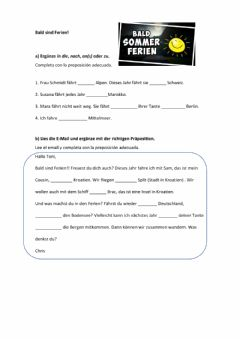 Interactive worksheet Ferien