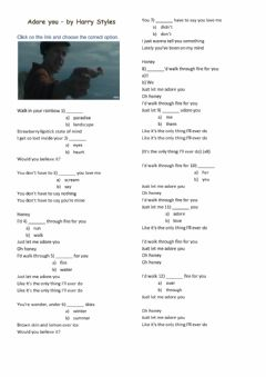 Interactive worksheet Adore you - Harry Styles