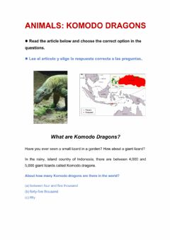 Interactive worksheet Komodo dragons