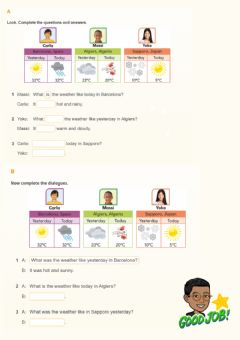 Interactive worksheet THE WEATHER - Today and Yesterday